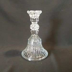 Indiana Glass Clear Taper Candle Holder / Venetian